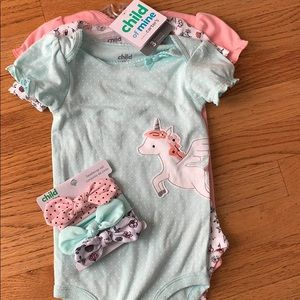 3 pack onesies and matching headbands